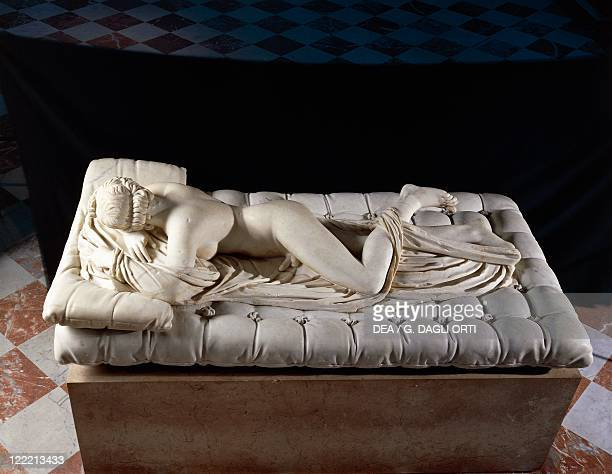 Roman civilization 2nd century AD Marble statue of Hermaphrodite asleep From Rome Baths of Diocletian