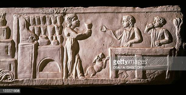 Roman civilization 2nd century AD Relief portraying the patrons of an inn or 'tavern' From Isola Sacra Ostia