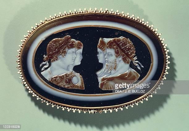 Roman civilization 2nd3rd century AD Cameo with portraits of Septimius Severus Julia Domna Caracalla and Geta