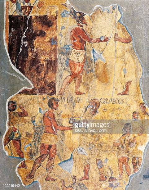 Roman civilization 3rd century bC Fragments of a fresco portraying Marco Fannio and Quinto Fabio from a tomb on the Esquiline Rome