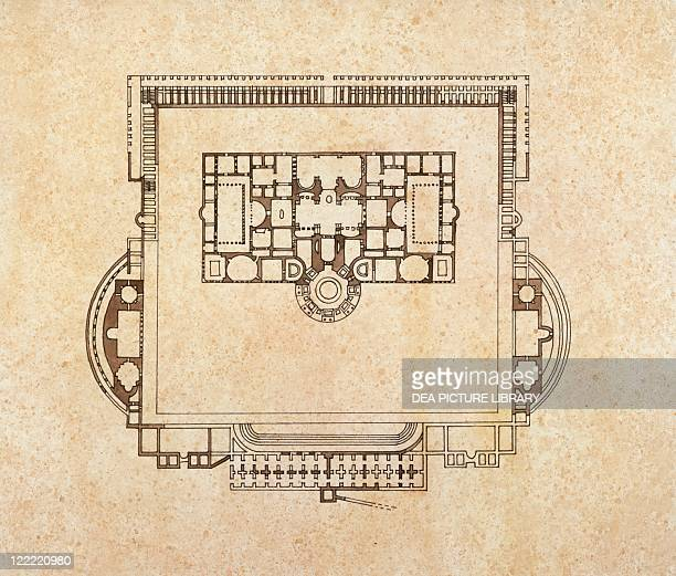 Roman civilization 3rd century Plan of Rome's baths of Caracalla Drawing
