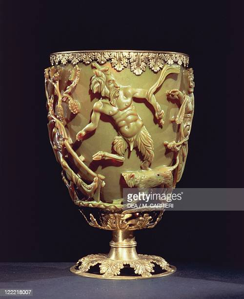 Roman civilization 4th century AD Glassware Lycurgus cup dichroic glass cup depicting king Lycurgus trapped by the branches of a vine