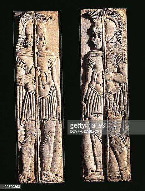 Roman civilization 4th century bC Pair of bone carvings of warriors from Praeneste