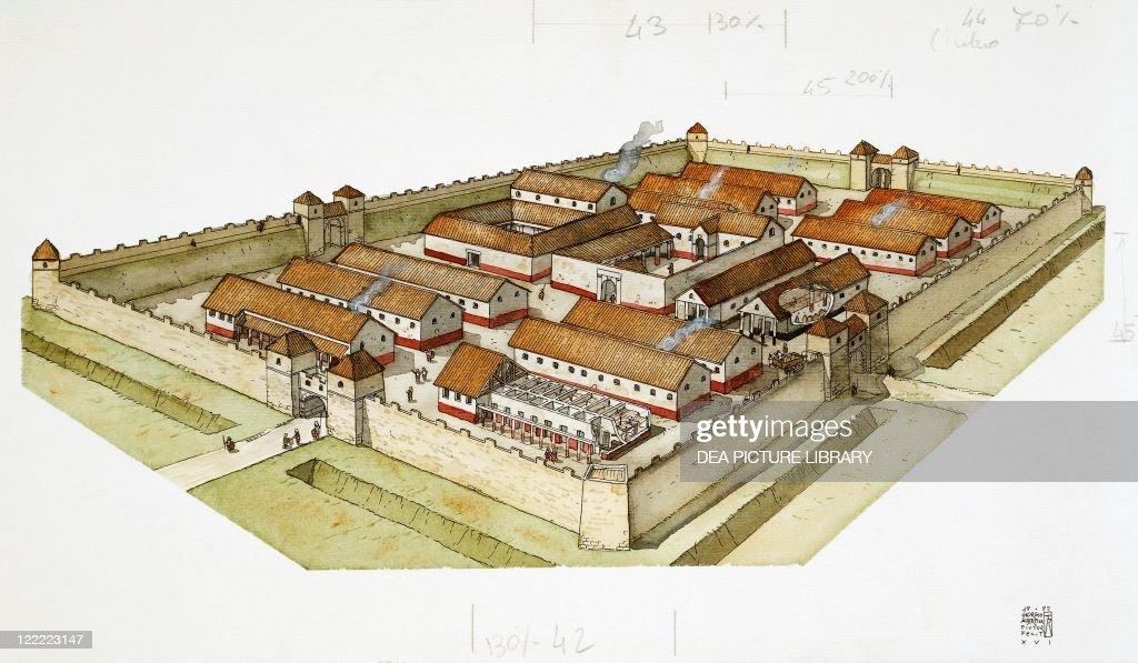 Roman civilization. Fortified military camp Roman 'castrum'. Color illustration.