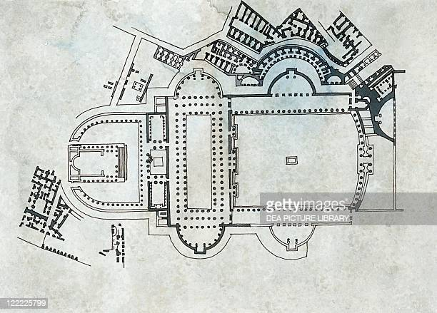 Roman Civilization Plan of the Trajan's Forum in Rome Drawing