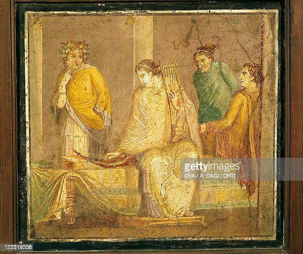 Roman civilization Relief portraying four women one seated with a musical instrument From Stabia
