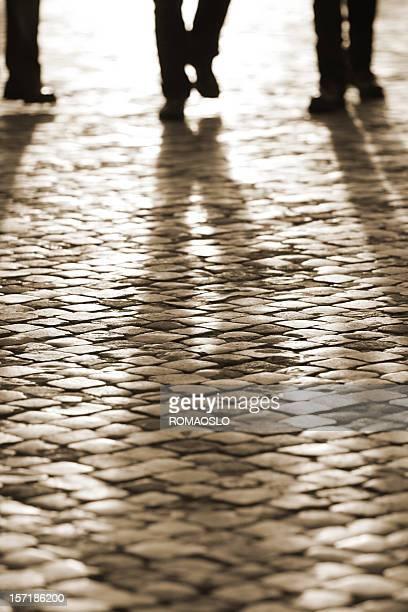 Roman de adoquines pierna Silueta, Roma, Italia