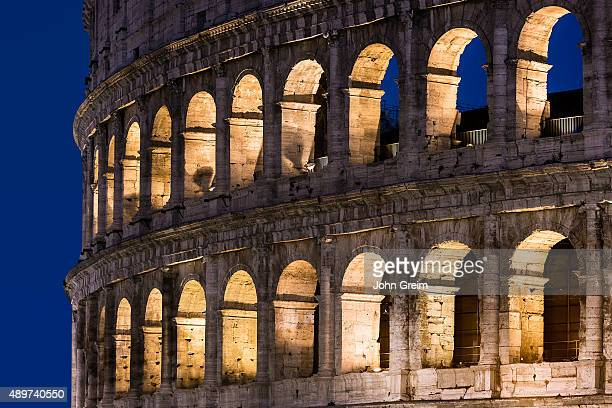Roman Coliseum detail at night