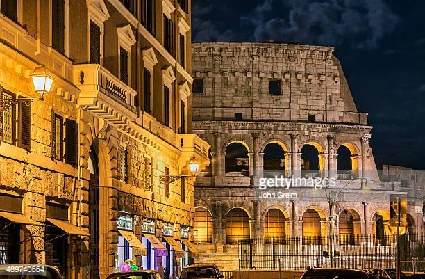 Roman Coliseum detail at night