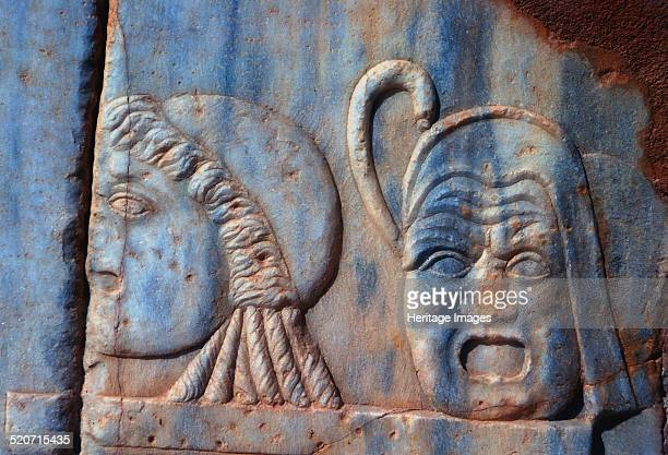 Roman comic masks Sabratha Libya c161c192 AD Relief carvings in the theatre at Sabratha
