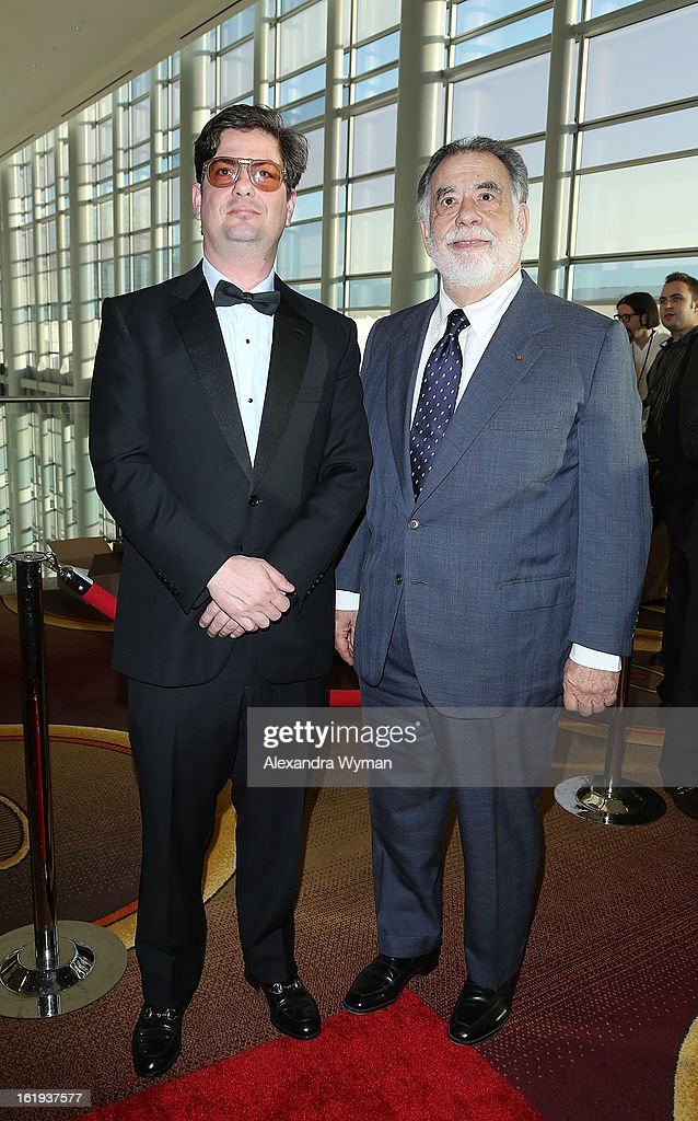 Roman Coppola and Francis Ford Coppola at The 2013 Writers Guild Awards Arrivals held at The JW Marriott Los Angeles at L.A. LIVE on February 17, 2013 in Los Angeles, California.