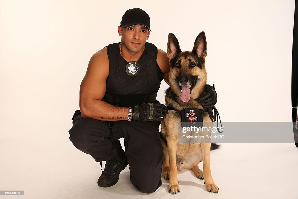 Roman De La Torre and his dog Cooper attend the 2013 Winter TCA Tour- Day 4 at The Langham Huntington Hotel and Spa on January 7, 2013 in Pasadena, California.