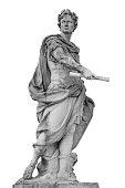 Roman emperor Julius Caesar statue isolated over white background.