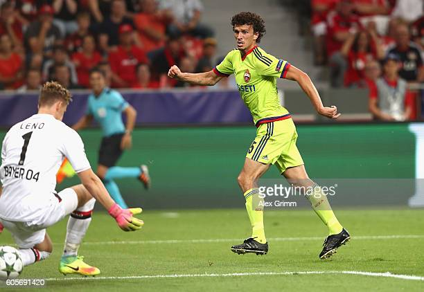 Roman Eremenko of CSKA Moscow scores past Bernd Leno of Bayer Leverkusen during the UEFA Champions League match between Bayer 04 Leverkusen and PFC...