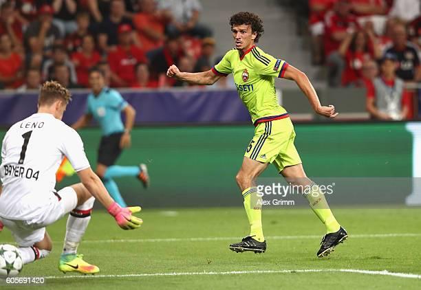 Roman Eremenko of CSKA Moscow scores past Bernd Leno of Bayer Leverkusen during the UEFA Champions League match between Bayer 04 Leverkusen and PFC...