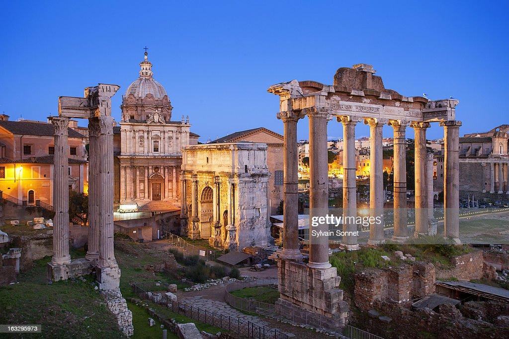 Roman Forum, Arch San Severus and Temple of Saturn