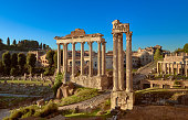 Roman Forum or Forum of Caesar, in Rome, Italy, early in the morning