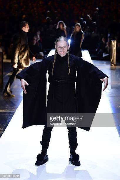 Roman Geike aka Romano walks the runway at the Esther Perbandt show during the MercedesBenz Fashion Week Berlin A/W 2017 at Volksbuehne on January 17...