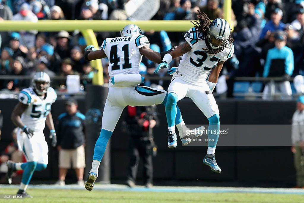 Roman Harper and teammate Tre Boston of the Carolina Panthers react after a play against the Seattle Seahawks in the 3rd quarter during the NFC...
