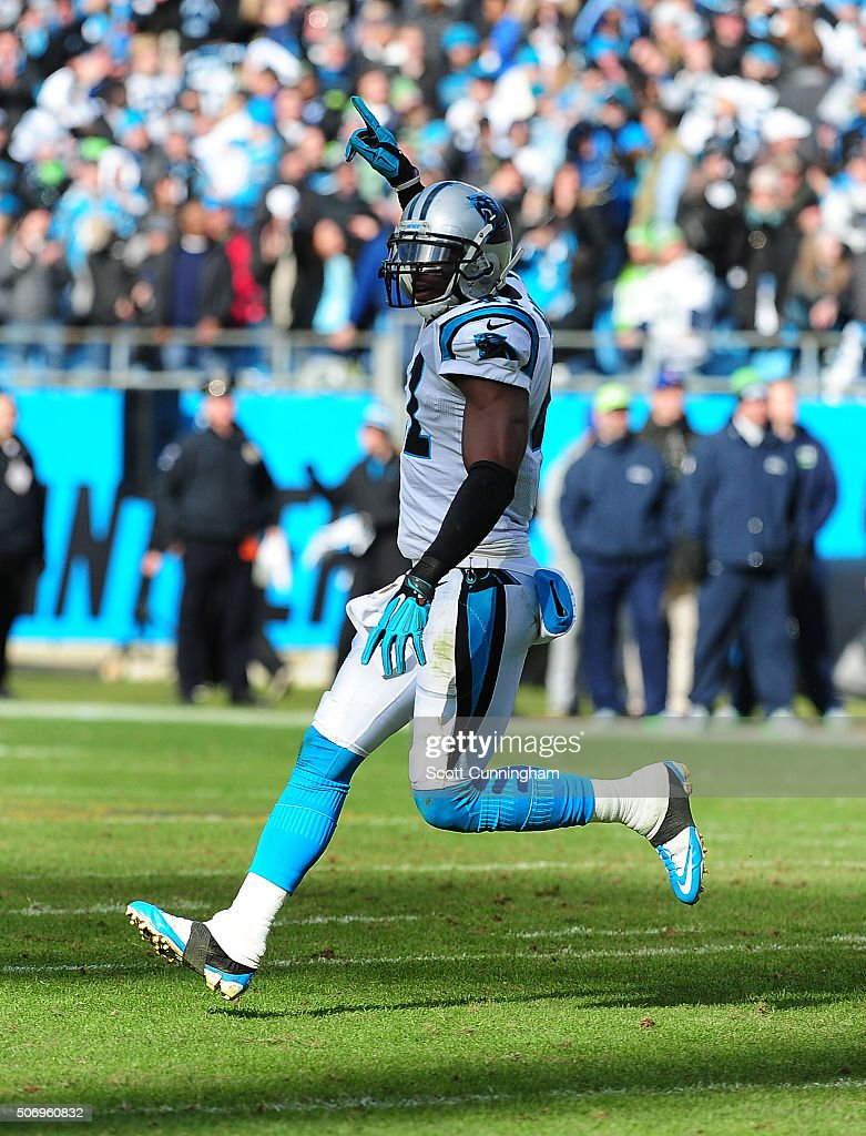 Roman Harper of the Carolina Panthers celebrates after a tackle against the Seattle Seahawks during the NFC Divisional Playoff Game at Bank Of...
