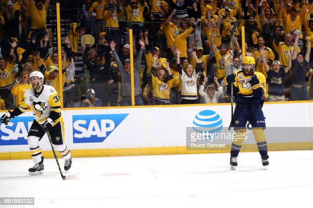 Roman Josi of the Nashville Predators celebrates after scoring a second period goal against Matt Murray of the Pittsburgh Penguins in Game Three of...