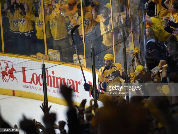 Roman Josi of the Nashville Predators celebrates his game winning goal against the Anaheim Ducks in Game Three of the Western Conference Final during...