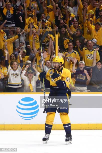 Roman Josi of the Nashville Predators celebrates his goal at 451 of the second period against the Pittsburgh Penguins in Game Three of the 2017 NHL...