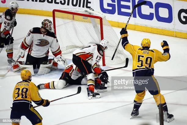 Roman Josi of the Nashville Predators celebrates scoring a goal against John Gibson of the Anaheim Ducks during the third period in Game Three of the...