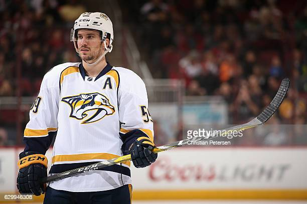 Roman Josi of the Nashville Predators during the NHL game against the Arizona Coyotes at Gila River Arena on December 10 2016 in Glendale Arizona The...