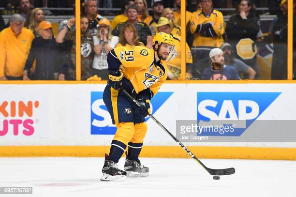 Roman Josi of the Nashville Predators looks to make a pass play in the first period of Game Six of the 2017 NHL Stanley Cup Final against the...