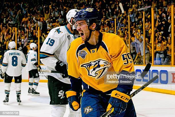 Roman Josi of the Nashville Predators reacts after a goal against the San Jose Sharks during the first period of Game Six of the Western Conference...