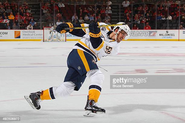 Roman Josi of the Nashville Predators scores a first period power play goal against the New Jersey Devils at Prudential Center on October 13 2015 in...