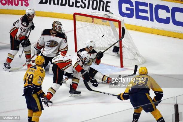 Roman Josi of the Nashville Predators scores a goal against John Gibson of the Anaheim Ducks during the third period in Game Three of the Western...
