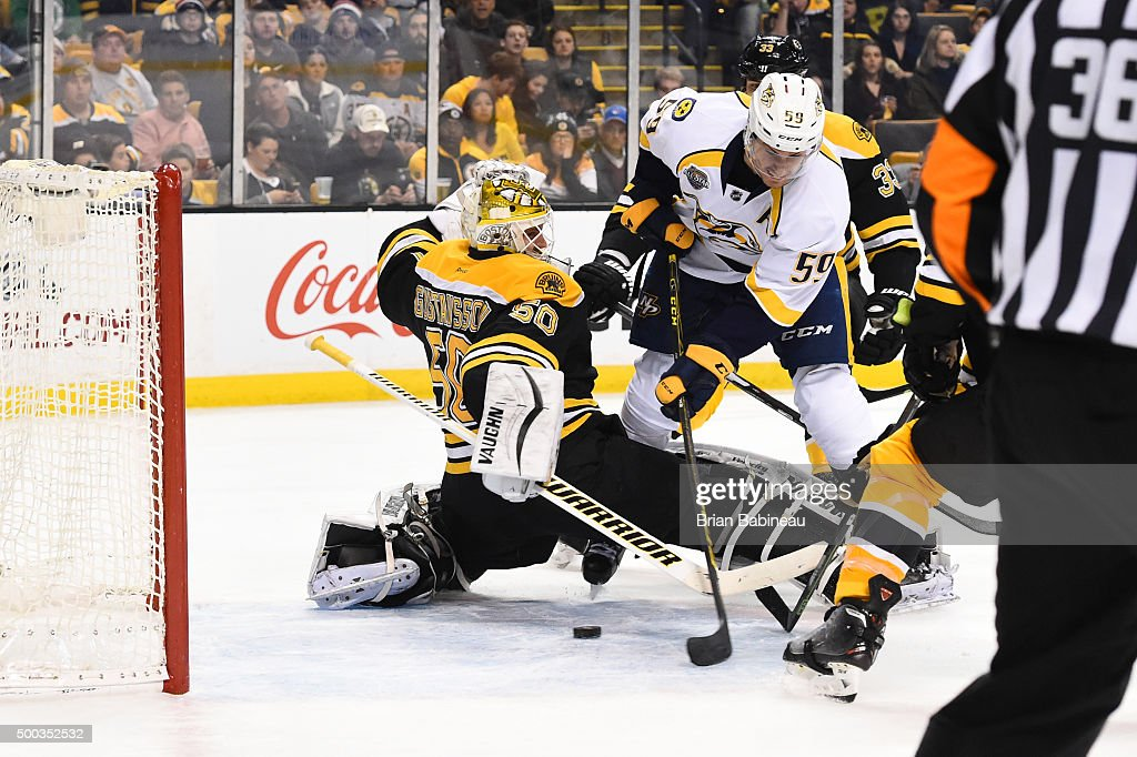 <a gi-track='captionPersonalityLinkClicked' href=/galleries/search?phrase=Roman+Josi&family=editorial&specificpeople=4247871 ng-click='$event.stopPropagation()'>Roman Josi</a> #59 of the Nashville Predators scores a goal against <a gi-track='captionPersonalityLinkClicked' href=/galleries/search?phrase=Jonas+Gustavsson&family=editorial&specificpeople=886789 ng-click='$event.stopPropagation()'>Jonas Gustavsson</a> #50 of the Boston Bruins at the TD Garden on December 7, 2015 in Boston, Massachusetts.