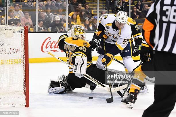 Roman Josi of the Nashville Predators scores a goal against Jonas Gustavsson of the Boston Bruins at the TD Garden on December 7 2015 in Boston...