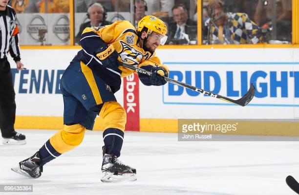 Roman Josi of the Nashville Predators shoots the puck against against the Pittsburgh Penguins during Game Six of the 2017 NHL Stanley Cup Final at...