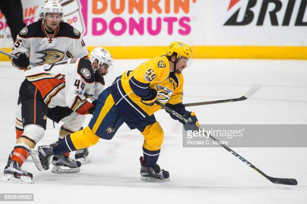 Roman Josi of the Nashville Predators skates against Nate Thompson of the Anaheim Ducks in Game Six of the Western Conference Final during the 2017...