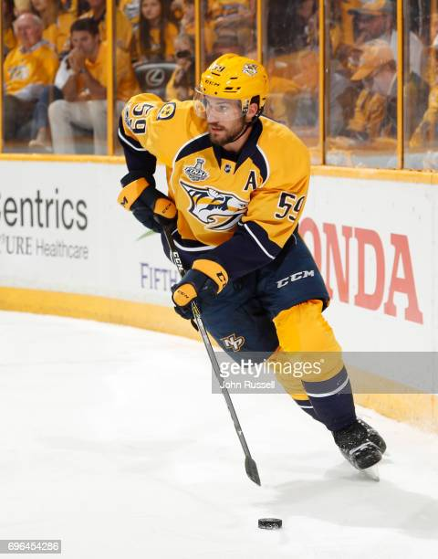 Roman Josi of the Nashville Predators skates against the Pittsburgh Penguins during Game Three of the 2017 NHL Stanley Cup Final at Bridgestone Arena...