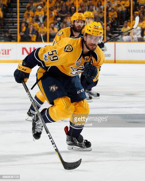 Roman Josi of the Nashville Predators skates against the Pittsburgh Penguins during Game Four of the 2017 NHL Stanley Cup Final at Bridgestone Arena...