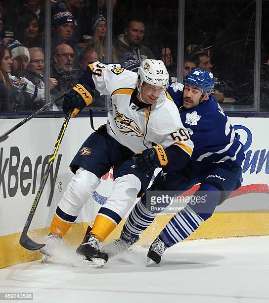 Roman Josi of the Nashville Predators skates against the Toronto Maple Leafs at the Air Canada Centre on November 18 2014 in Toronto Canada The...