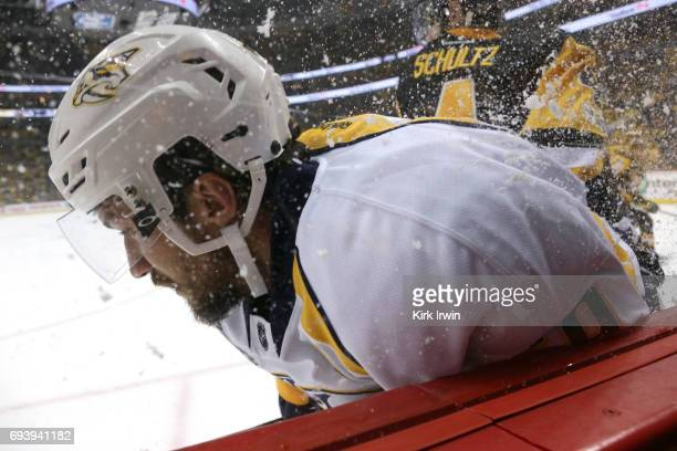 Roman Josi of the Nashville Predators skates along the boards in the first period against the Pittsburgh Penguins in Game Five of the 2017 NHL...