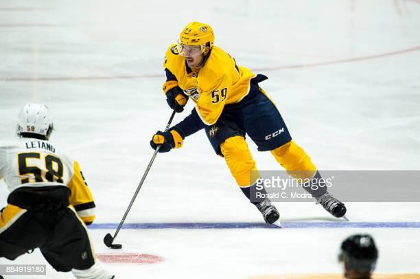 Roman Josi of the Nashville Predators skates during a NHL game against the Pittsburgh Penguins at Bridgestone Arena on November 11 2017 in Nashville...