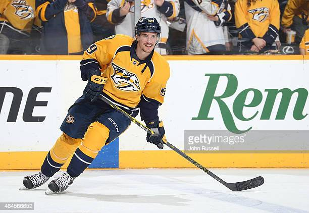 Roman Josi of the Nashville Predators skates in warmups prior to the game against the Colorado Avalanche during an NHL game at Bridgestone Arena on...