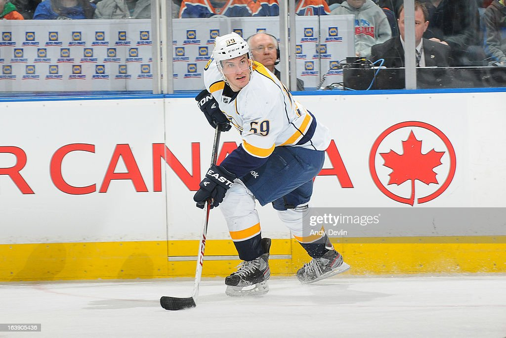<a gi-track='captionPersonalityLinkClicked' href=/galleries/search?phrase=Roman+Josi&family=editorial&specificpeople=4247871 ng-click='$event.stopPropagation()'>Roman Josi</a> #59 of the Nashville Predators skates on the ice in a game against the Edmonton Oilers on March 17, 2013 at Rexall Place in Edmonton, Alberta, Canada.