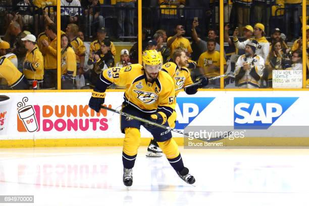 Roman Josi of the Nashville Predators warms up prior to the start of Game Six of the 2017 NHL Stanley Cup Final against the Pittsburgh Penguins at...
