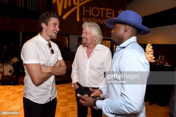Roman Josi Sir Richard Branson and PK Subban attend Virgin Hotels Nashville Groundbreaking Ceremony on September 20 2017 in Nashville Tennessee