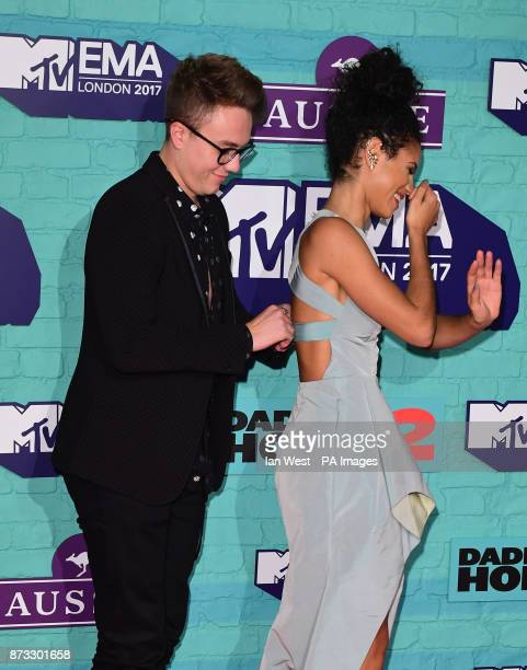 Roman Kemp and Vick Hope attending the MTV Europe Music Awards 2017 held at The SSE Arena London