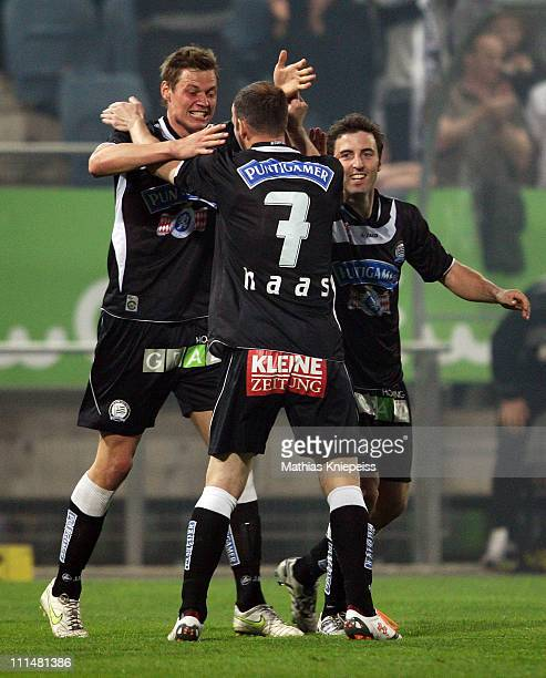 Roman Kienast celebrates with Mario Haas and Joachim Standfest of Sturm during the tipp3Bundesliga powered by TMobile match between SK Puntigamer...