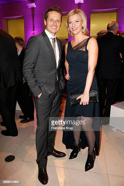 Roman Knizka and Eva Habermann attend the Deutscher Hoerfilmpreis 2015 on March 17 2015 in Berlin Germany