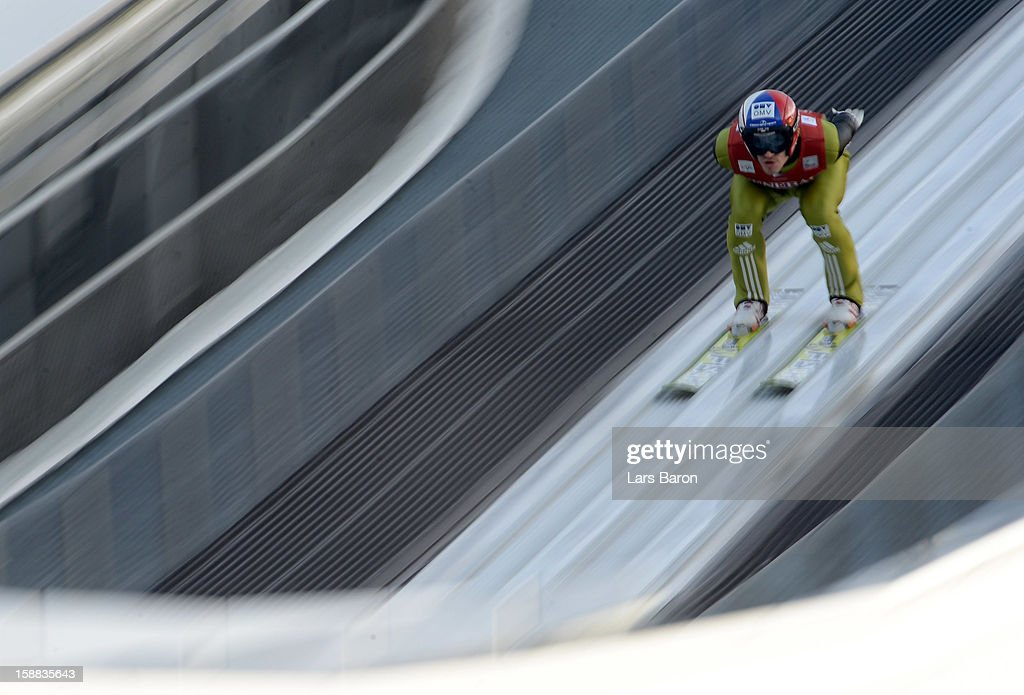 Roman Koudelka Czech Republic competes during the qualifikation round for the FIS Ski Jumping World Cup event at the 61st Four Hills ski jumping tournament at Olympiaschanze on December 31, 2012 in Garmisch-Partenkirchen, Germany.